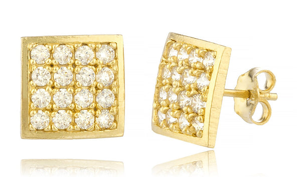 Real 10k Yellow Gold 9.5mm Square Shape Cubic Zirconia Stud Earrings With Real 10k Pushbacks