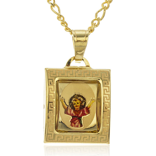 Real 10k Yellow Gold Baby Jesus Enamel Pendant With An 18 Inch Gold Layered Figaro Necklace