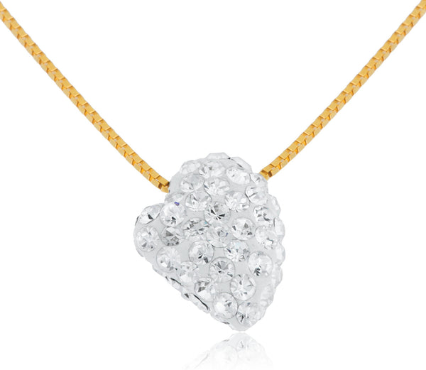 Real 10k Yellow Gold Bonded White Swarvoski Sideways Heart Shape Box Chain Necklace