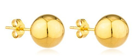 Real 10k Yellow Gold Classic Ball Earrings - All Sizes Available