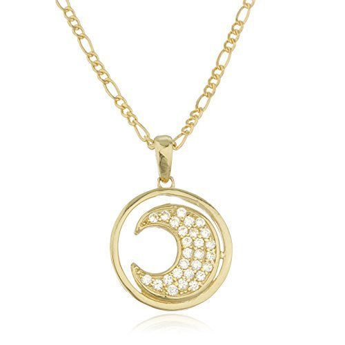 Real 10k Yellow Gold Cz Crescent Moon Pendant With An 18 Inch Gold Layered Figaro Necklace