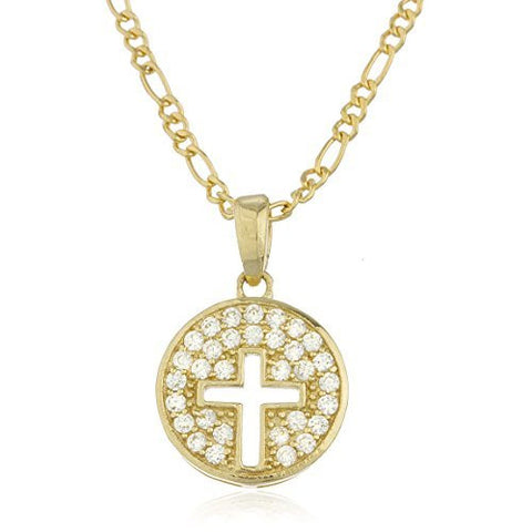 Real 10k Yellow Gold Cz Cross Pendant With An 18 Inch Gold Layered Figaro Necklace