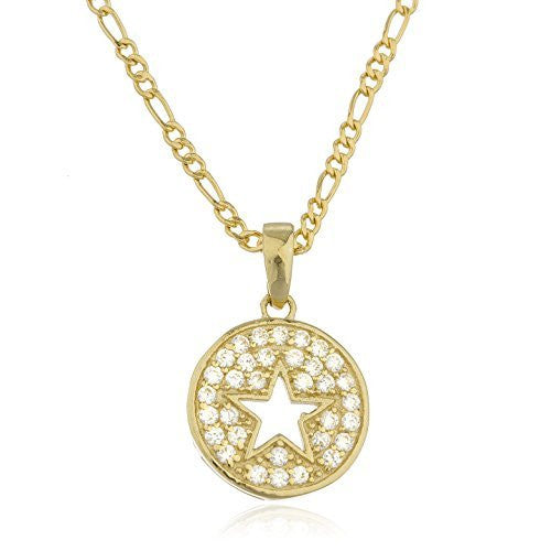 Real 10k Yellow Gold Cz Star Pendant With An 18 Inch Gold Layered Figaro Necklace