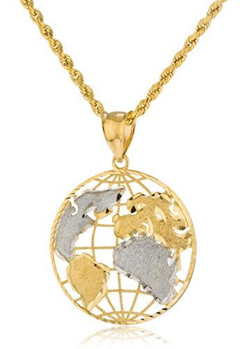 Real 10k Yellow Gold Globe Pendant...