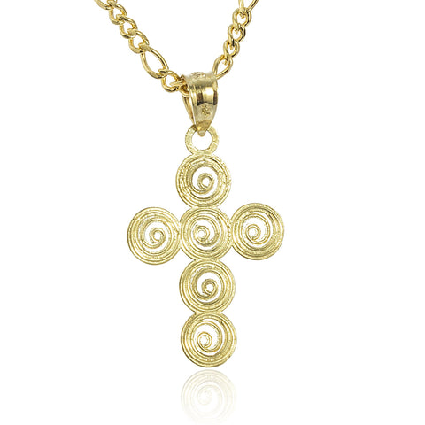 Real 10k Yellow Gold Mini Circle Swirl Cross Pendant With An 18 Inch Gold Layered Figaro Necklace