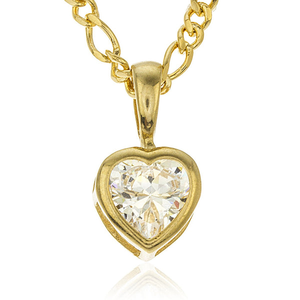 Real 10k Yellow Gold Mini Heart Basket Setting Pendant With Cubic Zirconia Stone And A Gold Layered Figaro Necklace