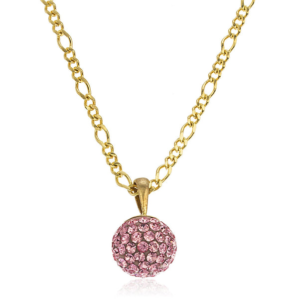 Real 10k Yellow Gold With Pink 10mm Preciosa Crystals And A Gold Layered Figaro Necklace