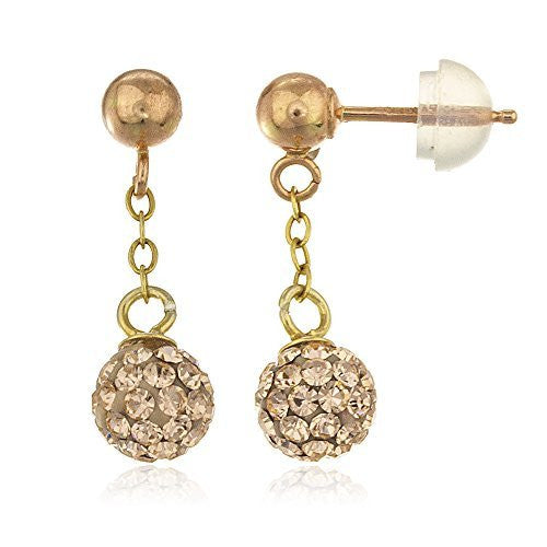 Real 14k 6mm Dangling Preciosa Champagne...