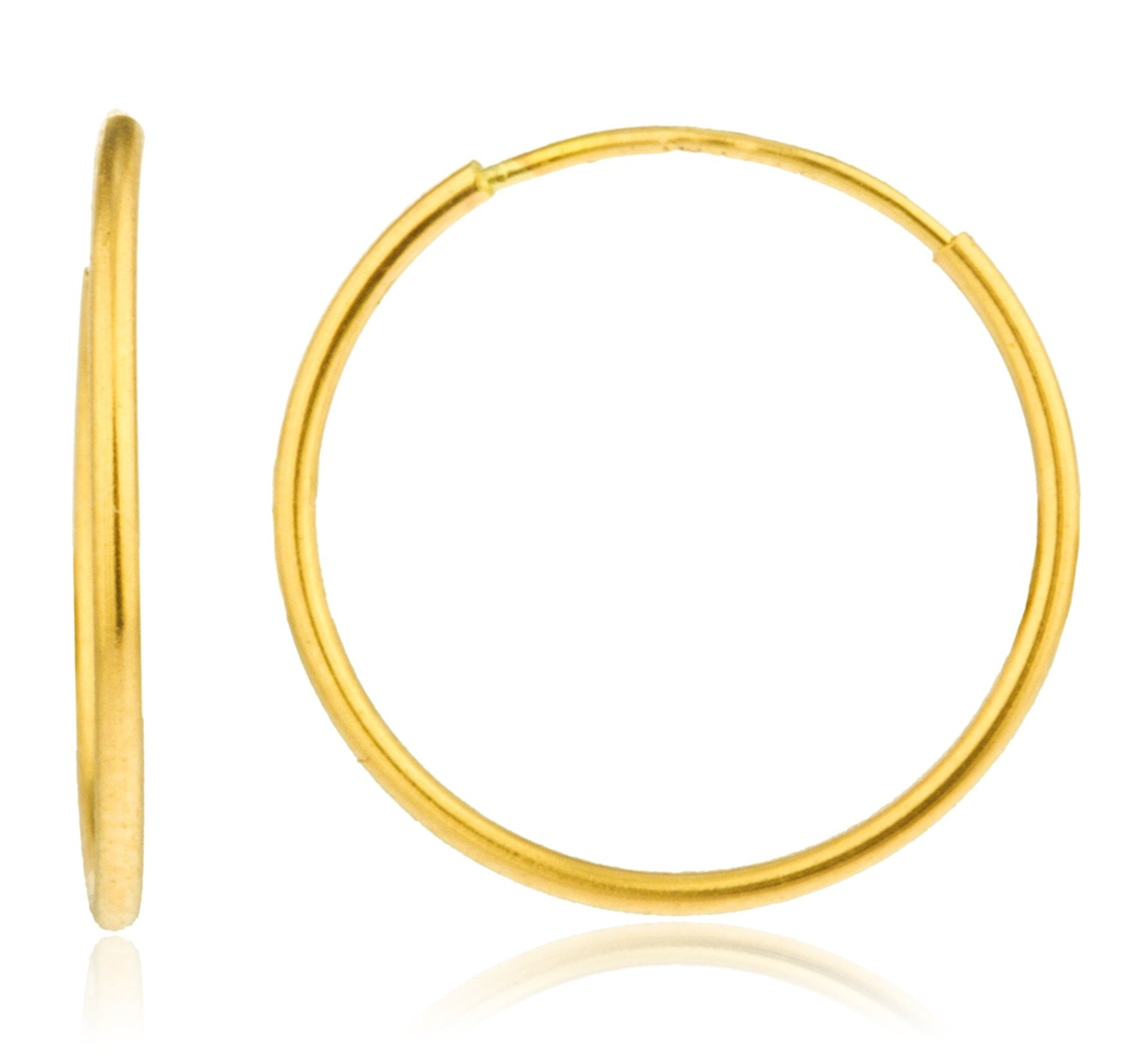 c59c4df9c 14k Yellow Gold 1mm Endless Hoop Earrings 10mm - 18mm
