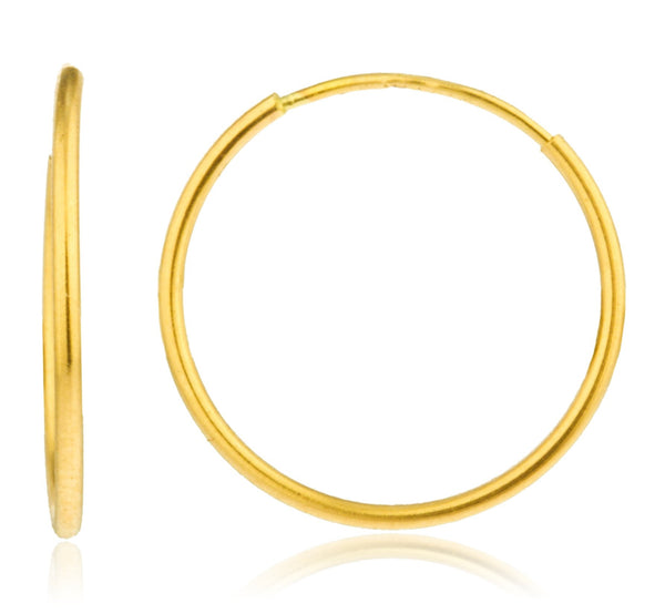 Real 14k Gold 1mm Endless Hoop Earrings - Available In Various Sizes