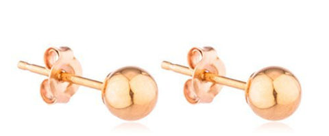 Real 14k Rose Gold Classic Ball Earrings With 14k Pushbacks - 2mm To 10mm Available