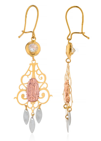 Real 14k Tri Tone Gold Virgin Mary Chandelier Style Earrings With CZ Stone