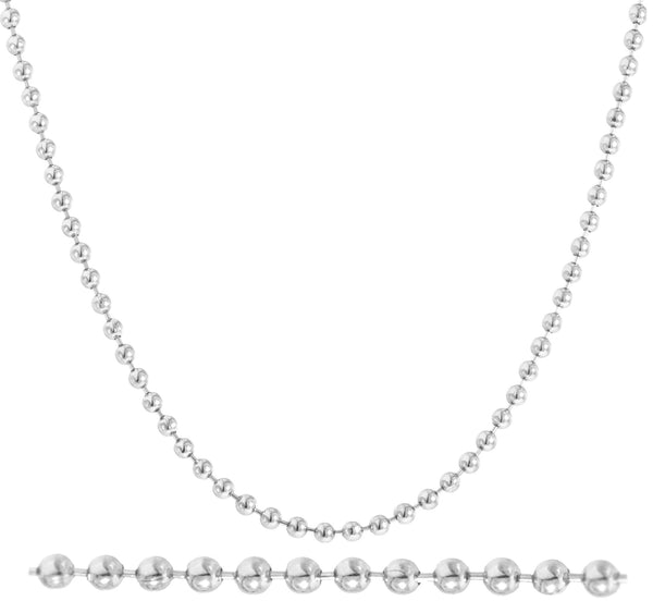 Real 14k White Gold 2mm 18 Inch Beaded Necklace