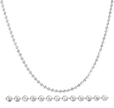 Real 14k White Gold 2mm 24 Inch Moon Cut Necklace
