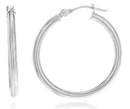 Real 14k White Gold 2mm Basic Pin Catch Hoop Earrings - 12mm - 40mm Available