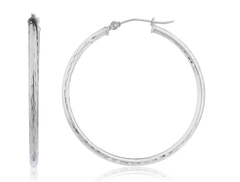 Real 14k White Gold 2mm D-Cut Click Hoop Earrings - 18mm - 40mm Available