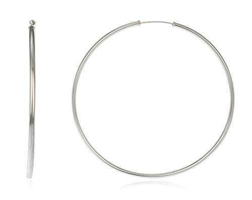 Real 14k White Gold 2mm Endless Hoop Earrings - 40mm To 70mm Available