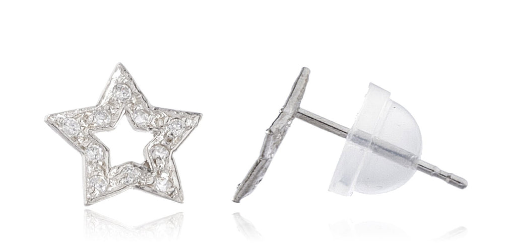 Real 14k White Gold 5-point Star...