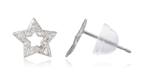 Real 14k White Gold 5-point Star With Cz Stones Stud Earrings