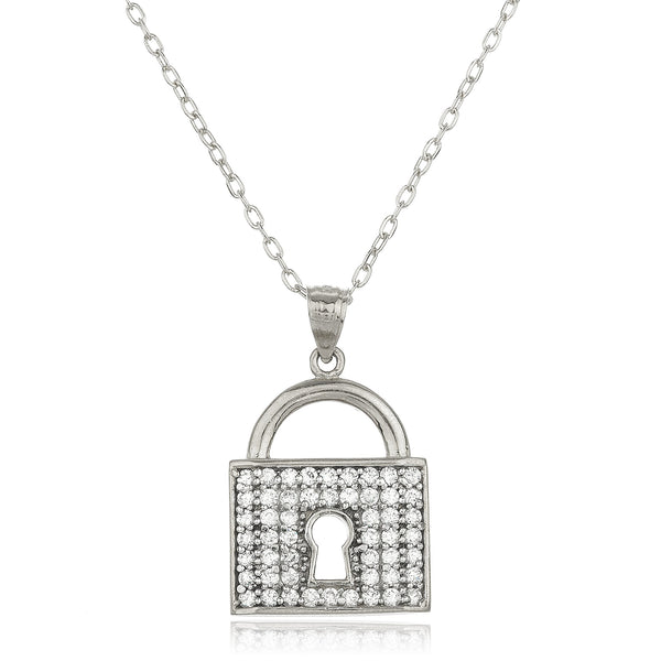 Real 14k White Gold Key Lock Pendant With Cz Stones And An 18 Inch Gold Layered Anchor Necklace
