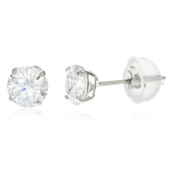 Real 14k White Gold Round Basket Setting Cz Stud Earrings With Silicone Back - All Sizes Available