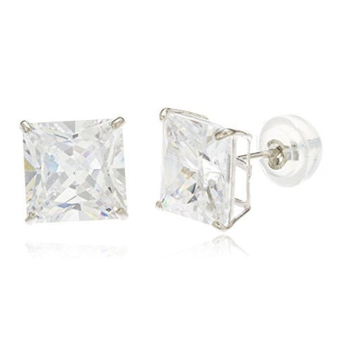 Real 14k White Gold Square Basket Setting Cz Stud Earrings With Silicone Back - All Sizes Available