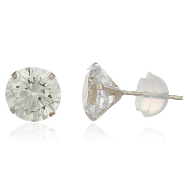 Real 14k White Gold With Clear 7mm Cubic Zirconia Stud Earrings
