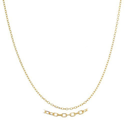 Real 14k Yellow Gold 1mm Link Chain Necklace (18 Inches)