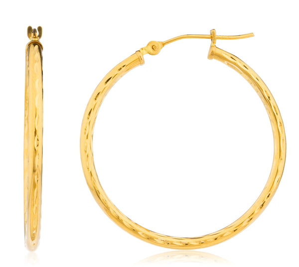 Real 14k Yellow Gold 2mm D-cut Hoop Earrings - 12mm To 40mm Available