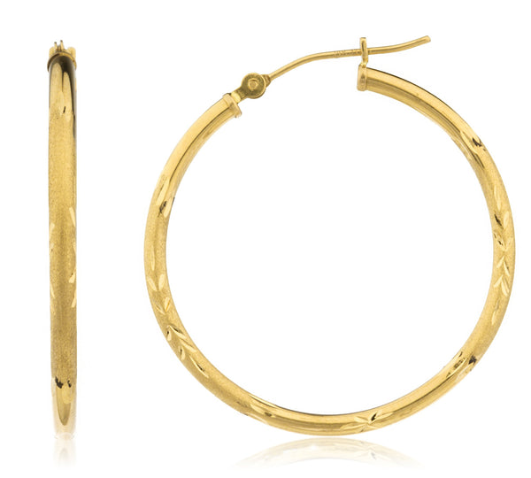 Real 14k Yellow Gold 2mm Frosted D-cut Click Hoop Earrings - Available In All Sizes