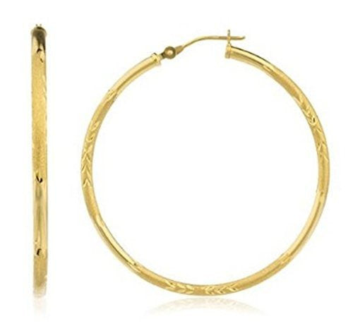 Real 14k Yellow Gold 2mm Frosted Diamond-cut Hoop Earrings -35mm - 60mm Available