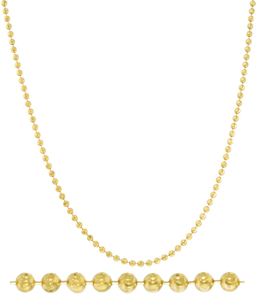 Real 14k Yellow Gold 2mm Moon Cut Necklace (26 Inches)