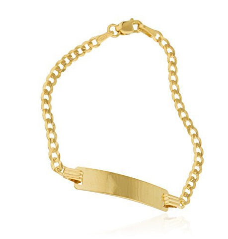Real 14k Yellow Gold 6 Inch Cuban Chain Children Id Bracelet