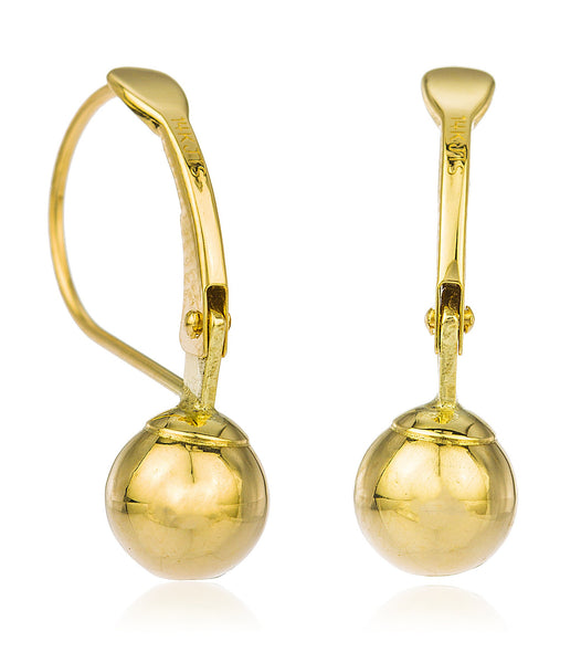 Real 14k Yellow Gold 6mm Dangle Ball Drop Simple Leverback Earrings