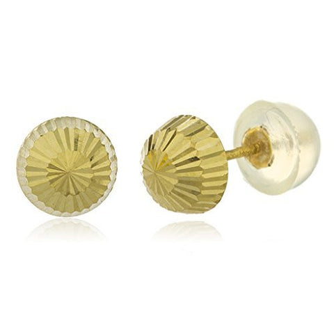 Real 14k Yellow Gold 6mm Designer Diamond Cut Stud Earrings With Silicone Back