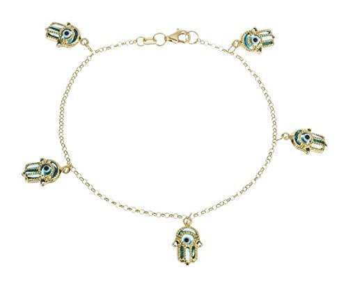 Real 14k Yellow Gold 7.5 Inch Blue Multi Dangling Hamsa Link Bracelet