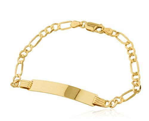 Real 14k Yellow Gold 7 Inch Figaro Chain Women's Id Bracelet