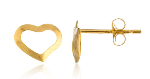 Real 14k Yellow Gold 9mm Heart Stud Earrings With 14k Pushbacks