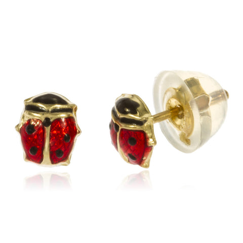 Real 14k Yellow Gold Baby Lady Bug Stud Earrings With Silicone Back