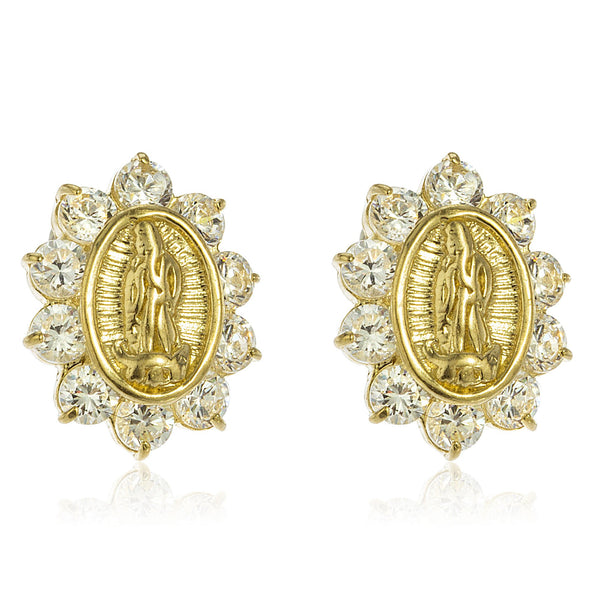Real 14k Yellow Gold Cross Mother Mary Stud Earrings With A Silicone Back
