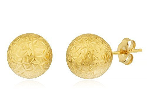 Real 14k Yellow Gold D.cut Style Ball Studs With 14k Push Backs - Available In Different Sizes