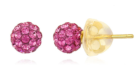 Real 14k Yellow Gold Fuchsia Preciosas Stud Earrings With Silicone Back - 5mm And 8mm Available (5 Millimeters)