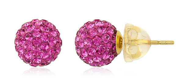 Real 14k Yellow Gold Fuchsia Preciosas Stud Earrings With Silicone Back - 5mm And 8mm Available (8 Millimeters)