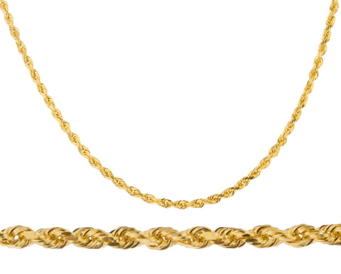 real 14k yellow gold heavy 3mm solid d-cut rope chain necklace