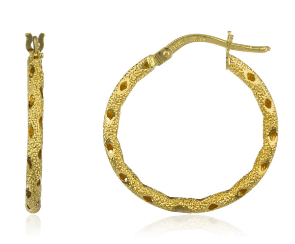 Real 14k Yellow Gold Italian Textured Hoop Earrings - 20mm Or 23mm (23 Millimeters)