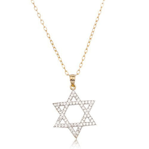Real 14k Yellow Gold Jewish Star Pendant With Cz Stones And An 18 Inch Gold Layered Anchor Necklace