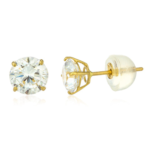 Real 14k Yellow Gold Round Basket Setting Cz Stud Earrings With Silicone Back - All Sizes Available