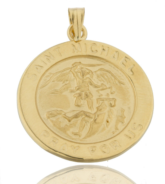 Real 14k Yellow Gold Saint Michael Pray For Us Circle Pendant