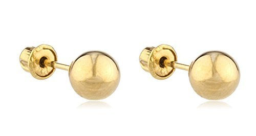 Real 14k Yellow Gold Scew Back Ball Stud Earrings - Sizes 3mm-8mm