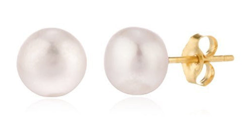 Real 14k Yellow Gold Simulated Pearl Stud Earrings With Pushbacks ( 6 Millimeters)